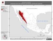 Mapa ilustrativo de Aimophila carpalis (zacatonero ala rufa) residencia permanente. Distribución potencial.
