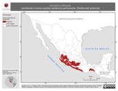 Mapa ilustrativo de Aimophila ruficauda (zacatonero corona rayada) residencia permanente. Distribución potencial.
