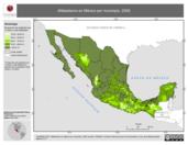 Mapa ilustrativo de Alfabetismo en México por municipio, 2000. La proyección citada, es exclusiva para el diseño de esta imagen.