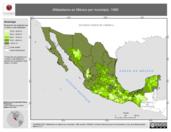 Mapa ilustrativo de Alfabetismo en México por municipio, 1990. La proyección citada, es exclusiva para el diseño de esta imagen.
