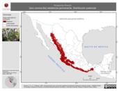 Mapa ilustrativo de Amazona finschi (loro corona-lila) residencia permanente. Distribución potencial.