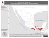 Mapa ilustrativo de Anabacerthia variegaticeps (breñero cejudo) residencia permanente. Distribución potencial.