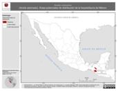 Mapa ilustrativo de Anolis crassulus (Anolis adornado). Área de distribución potencial. La proyección citada, es exclusiva para el diseño de esta imagen.