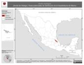 Mapa ilustrativo de Anolis naufragus (Anolis de Hidalgo). Área de distribución potencial. La proyección citada, es exclusiva para el diseño de esta imagen.