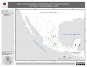 Mapa ilustrativo de Base de Datos Geográfica de Áreas Naturales Protegidas Estatales y del Distrito Federal de México, 2009