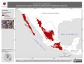 Mapa ilustrativo de Aphelocoma californica (chara pecho rayado) residencia permanente. Distribución potencial.