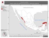 Mapa ilustrativo de Aramides axillaris (rascón cuello-rufo) residencia permanente. Distribución potencial.
