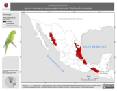 Mapa ilustrativo de Aratinga holochlora (perico mexicano) residencia permanente. Distribución potencial.