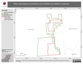 Mapa ilustrativo de Sitios arqueológicos de la Reserva de la Biosfera de Calakmul, Campeche