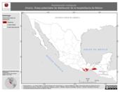 Mapa ilustrativo de Aspidoscelis motaguae (Huico). Área de distribución potencial. La proyección citada, es exclusiva para el diseño de esta imagen.