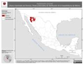 Mapa ilustrativo de Aspidoscelis sonorae (Huico manchado de Sonora). Área de distribución potencial. La proyección citada, es exclusiva para el diseño de esta imagen.