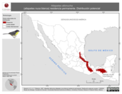 Mapa ilustrativo de Atlapetes albinucha (atlapetes nuca blanca) residencia permanente. Distribución potencial.