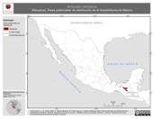 Mapa ilustrativo de Atropoides mexicanus (Nauyaca). Área de distribución potencial. La proyección citada, es exclusiva para el diseño de esta imagen.