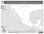 Mapa ilustrativo de Atropoides olmec (Nauyaca de Los Tuxtlas). Área de distribución potencial. La proyección citada, es exclusiva para el diseño de esta imagen.