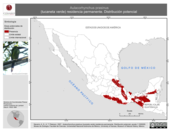 Mapa ilustrativo de Aulacorhynchus prasinus (tucaneta verde) residencia permanente. Distribución potencial.