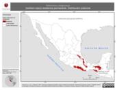 Mapa ilustrativo de Automolus rubiginosus (breñero rojizo) residencia permanente. Distribución potencial.