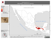 Mapa ilustrativo de Balantiopteryx io (Murciélago). Distribución potencial. La proyección citada, es exclusiva para el diseño de esta imagen.