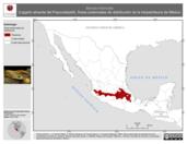 Mapa ilustrativo de Barisia imbricata (Lagarto alicante del Popocatépetl). Área de distribución potencial. La proyección citada, es exclusiva para el diseño de esta imagen.