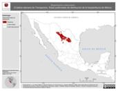 Mapa ilustrativo de Bogertophis subocularis (Culebra ratonera de Transpecos). Área de distribución potencial. La proyección citada, es exclusiva para el diseño de esta imagen.