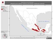 Mapa ilustrativo de Buarremon brunneinucha (atlapetes gorra castaña) residencia permanente. Distribución potencial.