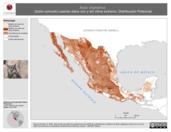 Mapa ilustrativo de Bubo virginianus (búho cornudo) usando sitios con y sin clima extremo. Distribución Potencial