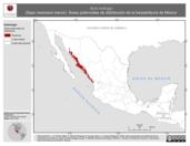 Mapa ilustrativo de Bufo kelloggi (Sapo mexicano menor). Área de distribución potencial. La proyección citada, es exclusiva para el diseño de esta imagen.