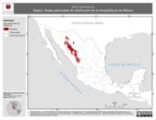 Mapa ilustrativo de Bufo mexicanus (Sapo). Área de distribución potencial. La proyección citada, es exclusiva para el diseño de esta imagen.