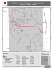 Mapa ilustrativo de Poligonal de Cuerpos de agua en el área de estudio. Cuenca de Burgos, zona II