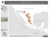 Mapa ilustrativo de Callipepla squamata (codorniz escamosa) usando sitios con y sin clima extremo. Distribución Potencial