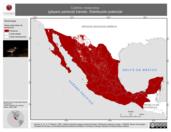 Mapa ilustrativo de Calidris melanotos (playero pectoral) tránsito. Distribución potencial.