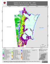 Mapa ilustrativo de Cambio de uso del suelo 1991 - 2004, Sistema Lagunar Nichupté - Bojórquez.