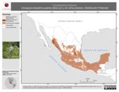 Mapa ilustrativo de Camptostoma imberbe (mosquero lampiño) usando sitios con y sin clima extremo. Distribución Potencial