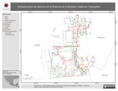 Mapa ilustrativo de Infraestructura de caminos de la Reserva de la Biosfera Calakmul, Campeche