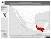 Mapa ilustrativo de Campylopterus hemileucurus (fandanguero morado) residencia permanente. Distribución potencial.