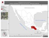 Mapa ilustrativo de Campylorhynchus jocosus (matraca del Balsas) residencia permanente. Distribución potencial.