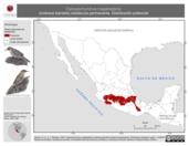 Mapa ilustrativo de Campylorhynchus megalopterus (matraca barrada) residencia permanente. Distribución potencial.