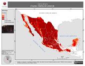 Mapa ilustrativo de Canis latrans (Coyote). Distribución potencial. La proyección citada, es exclusiva para el diseño de esta imagen.