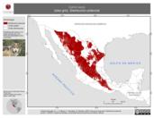 Mapa ilustrativo de Canis lupus (lobo gris). Distribución potencial. La proyección citada, es exclusiva para el diseño de esta imagen.