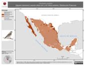 Mapa ilustrativo de Carduelis psaltria (jilguero dominico) usando sitios con y sin clima extremo. Distribución Potencial
