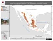 Mapa ilustrativo de Catharus guttatus (zorzal cola rufa) usando sitios con y sin clima extremo. Distribución Potencial