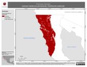 Mapa ilustrativo de Chamaea fasciata (camea) residencia permanente. Distribución potencial.