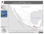 Mapa ilustrativo de Chlidonias niger (charrán negro) invierno. Distribución potencial.