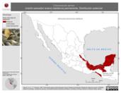 Mapa ilustrativo de Chloroceryle aenea (martín-pescador enano) residencia permanente. Distribución potencial.
