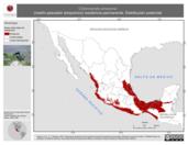Mapa ilustrativo de Chloroceryle amazona (martín-pescador amazónico) residencia permanente. Distribución potencial.