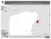 Mapa ilustrativo de Chlorostilbon forficatus (esmeralda de Cozumel) residencia permanente. Distribución potencial.