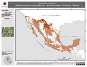 Mapa ilustrativo de Chordeiles acutipennis (chotacabras menor) usando sitios con y sin clima extremo. Distribución Potencial