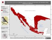 Mapa ilustrativo de Chondestes grammacus (gorrión arlequín) en época de invernación del Hemisferio Norte. Distribución potencial.