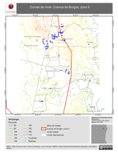 Mapa ilustrativo de Curvas de nivel. Cuenca de Burgos, zona II