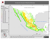 Mapa ilustrativo de Curvas de nivel para la República Mexicana
