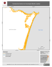 Mapa ilustrativo de Curvas de nivel en el municipio Benito Juárez